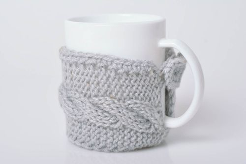 Handmade crocheted beautiful stylish grey case for cup made of acrylic yarns - MADEheart.com