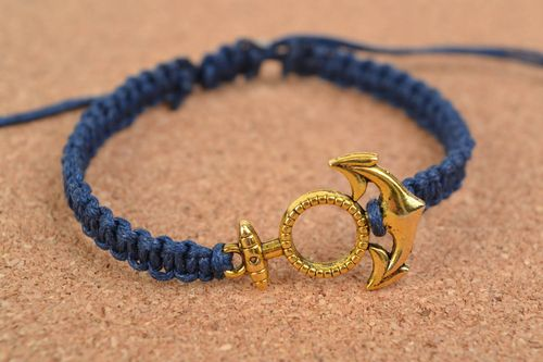 Handmade beautiful stylish cotton cord bracelet with anchor charm trendy accessory - MADEheart.com