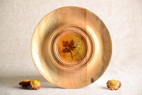 Handmade plate wooden dishes wooden plate kitchen decor unusual plate decor idea - MADEheart.com