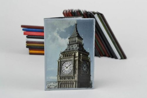 Handmade designer faux leather passport cover decorated with decoupage Big Ben - MADEheart.com