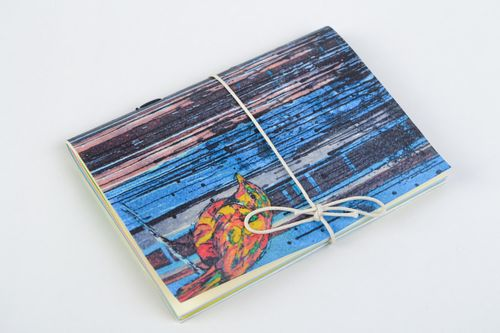 Stylish sketchbook with watercolor cardboard cover present for best friend - MADEheart.com