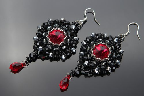 Handmade evening black beaded earrings with red charms for ladies of fashion - MADEheart.com