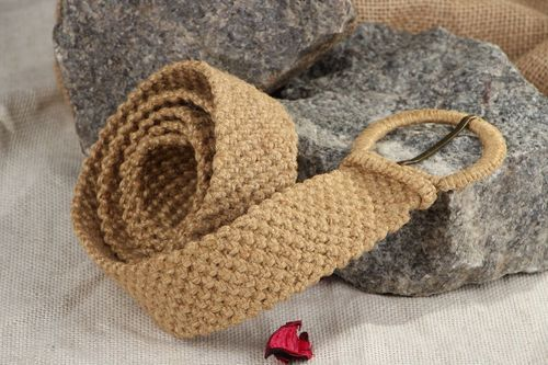 Braided jute belt Linen buckle - MADEheart.com