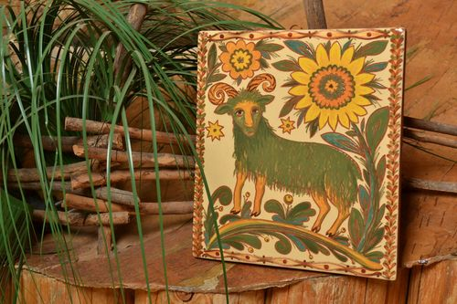 Ceramic tile for fireplace or kitchen wall decor square painted handmade panel - MADEheart.com