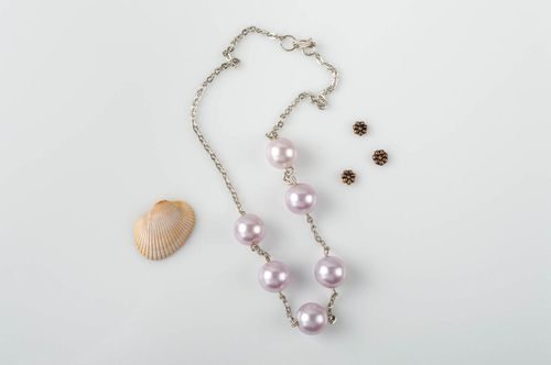 Handmade necklace accessory with artificial pearls stylish unusual jewelry - MADEheart.com