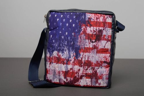 Leather bag with print USA - MADEheart.com