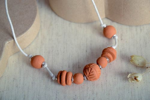 Handmade vintage necklace ceramic jewelry clay pendant eco friendly accessories - MADEheart.com