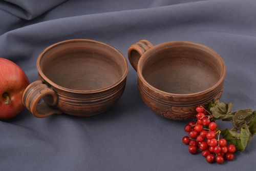 Beautiful handmade ceramic cup coffee cup 2 pieces 200 ml each kitchen supplies - MADEheart.com