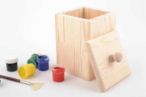 Beautiful square handmade wooden blank box for dry goods creative ideas - MADEheart.com