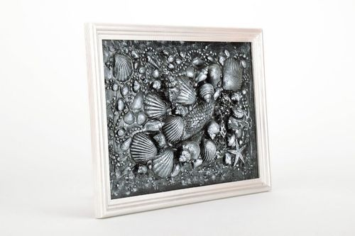 Panel picture from natural shells and stones in terra technique - MADEheart.com