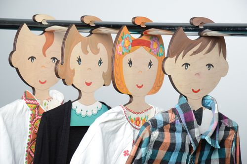Set of handmade plywood childrens clothes hangers painted with acrylics 4 items - MADEheart.com