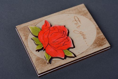 Handmade plywood greeting card with flower - MADEheart.com