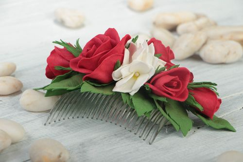 Handmade unusual hair comb stylish accessories for hair red and white jewelry - MADEheart.com