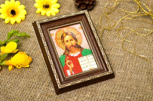 Handmade small embroidered icon beautiful orthodox icon religious gift - MADEheart.com