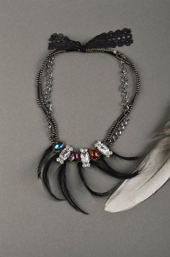 Handmade massive necklace unusual designer necklace jewelry with feather - MADEheart.com