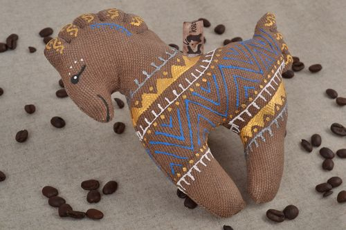 Handmade small soft toy horse sewn of brown fabric with painted ornaments - MADEheart.com