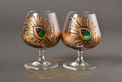 Unusual handmade cognac glasses 2 pieces types of drinking glasses glass ware - MADEheart.com