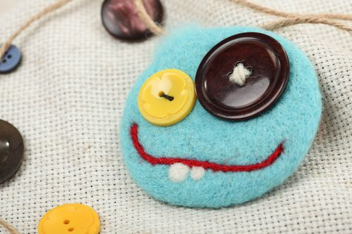 Brooch wool felting technique blue funny smiley with buttons handmade accessory - MADEheart.com