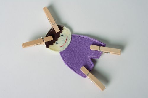 Handmade educational toy sewn of felt with clothes pins Boy for little kids  - MADEheart.com