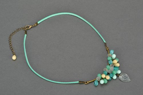 Beautiful homemade suede cord necklace with glass beads unusual design - MADEheart.com