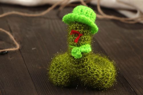 Beautiful handmade soft toy crocheted of acrylic threads green snake in hat - MADEheart.com