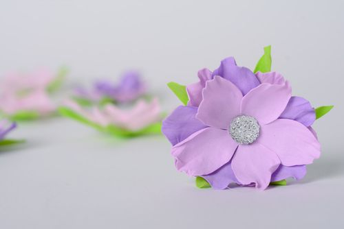 Handmade beautiful designer clip hair blank made of foamiran in the form of flower - MADEheart.com