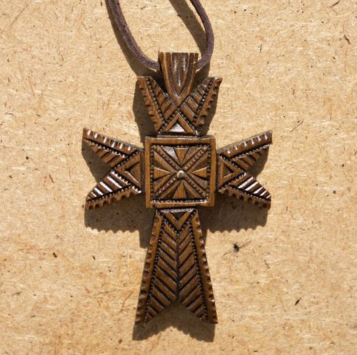 Ethnic wooden cross - MADEheart.com