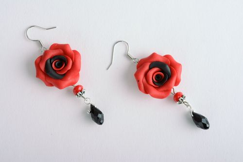 Plastic dangle earrings Red Rose - MADEheart.com