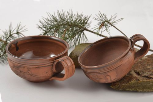 Handmade unusual ceramic cups beautiful lovely set designer stylish ware - MADEheart.com
