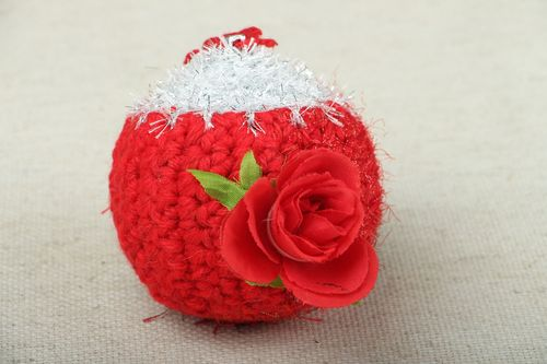 Christmas tree toy Ball with Rose - MADEheart.com