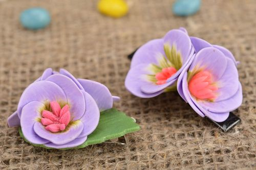 Set of jewelry made of polymer clay brooch and hair clip with lilac water lily - MADEheart.com
