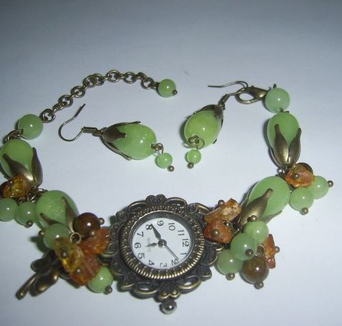 Jewelry set with natural stones Summer watch and earrings - MADEheart.com