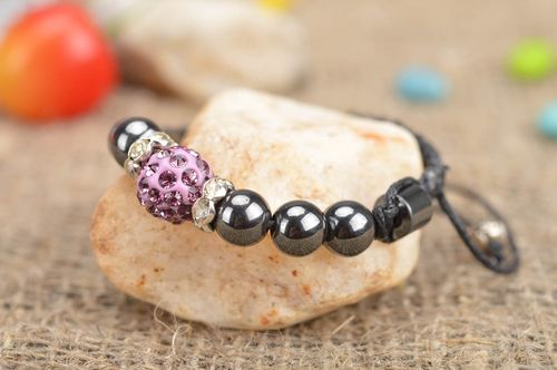 Beautiful delicate handmade stylish woven bracelet made of hematite and lace - MADEheart.com