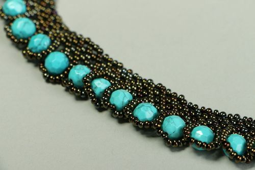 Necklace with Czech beads and turquoise - MADEheart.com