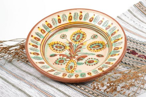 Handmade decorative wall hanging ceramic plate painted with glaze in ethnic styl - MADEheart.com