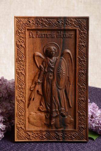 Carved wooden icon with metal fastening Archangel Michael handmade wall panel - MADEheart.com