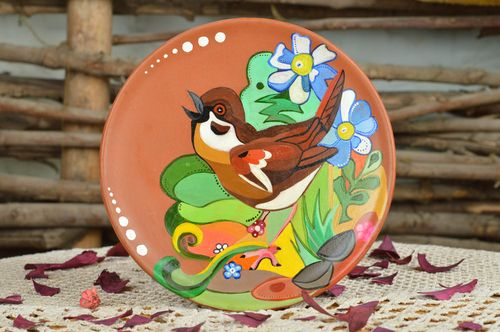 Handmade cute ceramic plate with designer acrylic painting for home decor - MADEheart.com