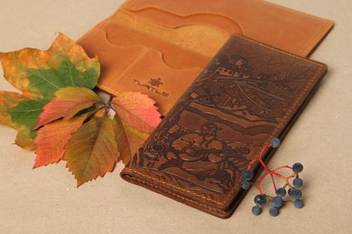 Beautiful handmade leather wallet elegant wallet design leather goods gift ideas - MADEheart.com