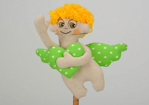 Tilde doll, soft toy Angel with green  wings - MADEheart.com