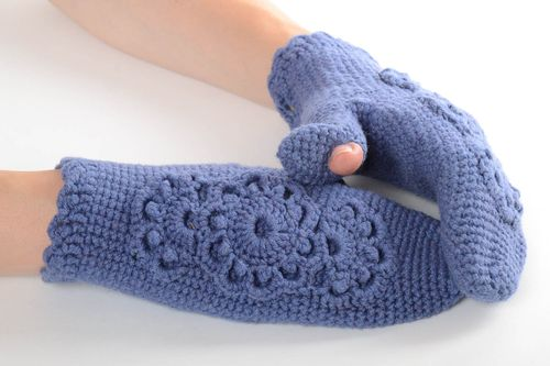 Handmade knitted mittens stylish designer accessories blue cute handicrafts - MADEheart.com