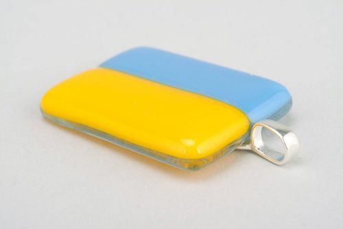 Fused glass pendant Ukrainian flag - MADEheart.com