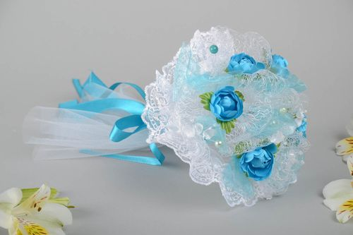 Beautiful blue handmade designer artificial flower bridal bouquet Roses - MADEheart.com