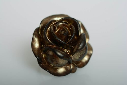 Handmade decorative ring made of polymer clay Rose beautiful unusual designer jewelry - MADEheart.com