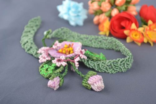 Flower jewelry handmade necklace macrame necklace fashion accessories gift ideas - MADEheart.com