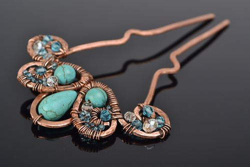 Handmade wire wrap copper hairpin with turquoise - MADEheart.com