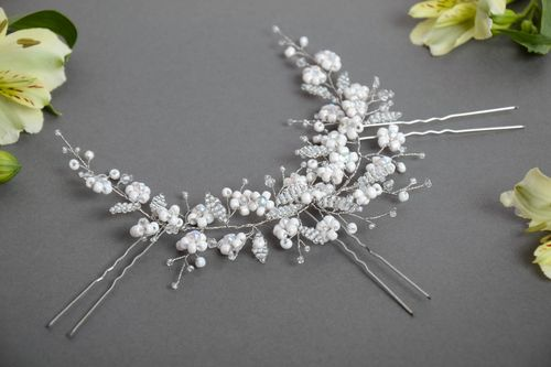 Handmade designer hair accessory with white beaded flowers with hair pins - MADEheart.com