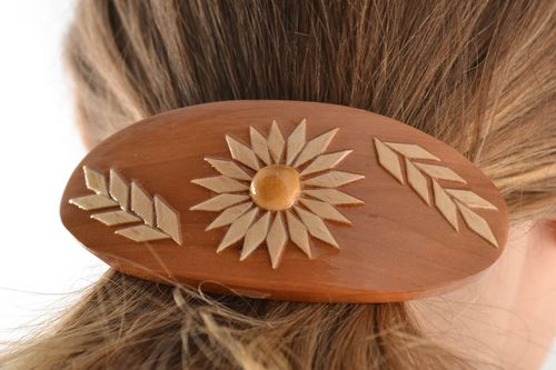 Jewelry hair clip Eco friendly beautiful handmade patterned wooden  - MADEheart.com