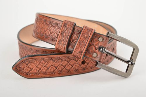 Unusual handmade leather belt gentlemen only fashion accessories for him - MADEheart.com