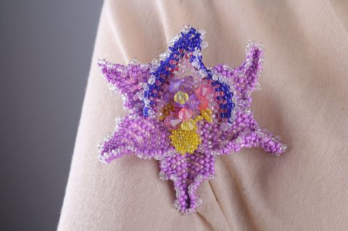 Homemade beaded brooch Orchid - MADEheart.com
