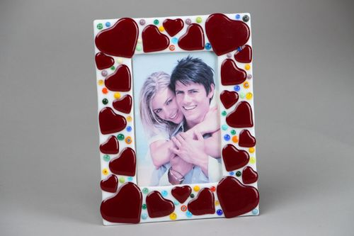 Fused glass photo frame Hearts - MADEheart.com